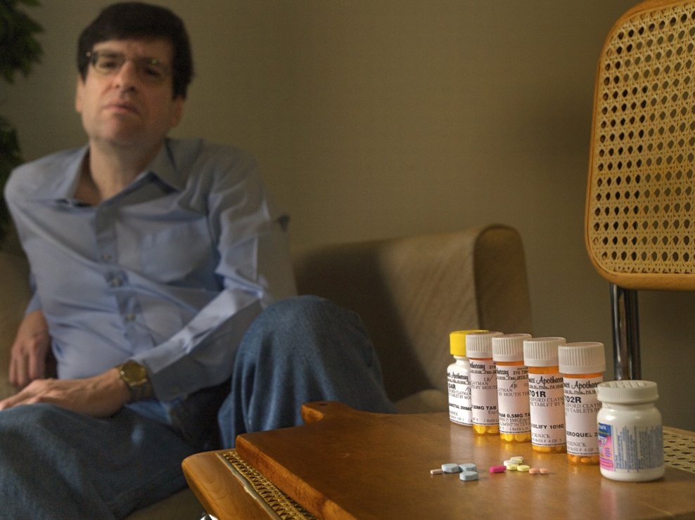 Buddy takes psychotropic medications several times a day. They help manage his symptoms.