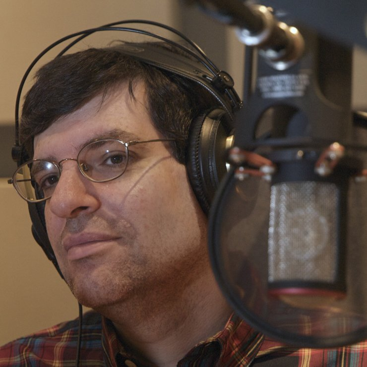 Taking a break while recording a narration voice-over.